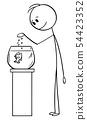 Vector Cartoon of Man Feeding Fish in Fishbowl or Tank or Aquarium 54423352