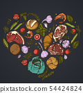 Heart floral design on dark background with garlic, cherry tomatoes, peas, fish, shrimp, cabbage 54424824