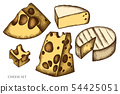 Vector set of hand drawn colored cheese 54425051