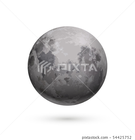 Bright realistic moon with texture on white 54425752