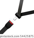 Black realisitc safety belt on white 54425875