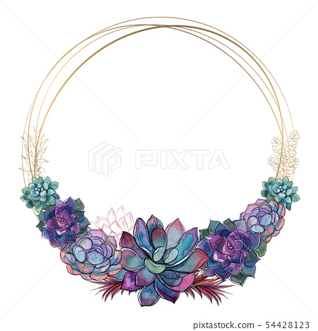 Round gold frame with succulents. Vector. 54428123