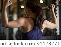 健身房女人肌肉訓練 54428271