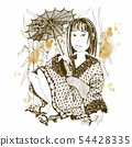 Japanese girl in kimono with umbrella. Vector. 54428335