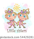 Two little sisters. Twin girls. Vector 54429281