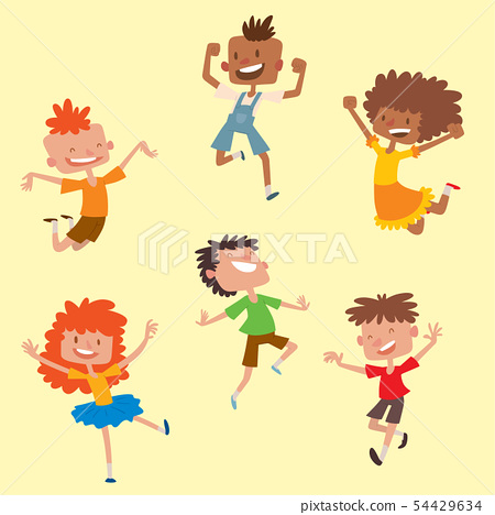 Happy children in different positions big vector jumping cheerful child group and funny cartoon kids 54429634
