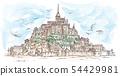 Le Mont Saint Michel ,France. Hand drawn sketch 54429981