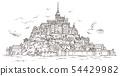 Le Mont Saint Michel ,Normandy, France. Hand drawn 54429982