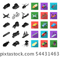 Different types of transport black,flat icons in set collection for design. Car and ship isometric 54431463