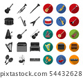 Musical instrument black,flat icons in set collection for design. String and Wind instrument vector 54432628