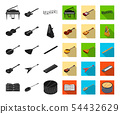 Musical instrument black,flat icons in set collection for design. String and Wind instrument 54432629