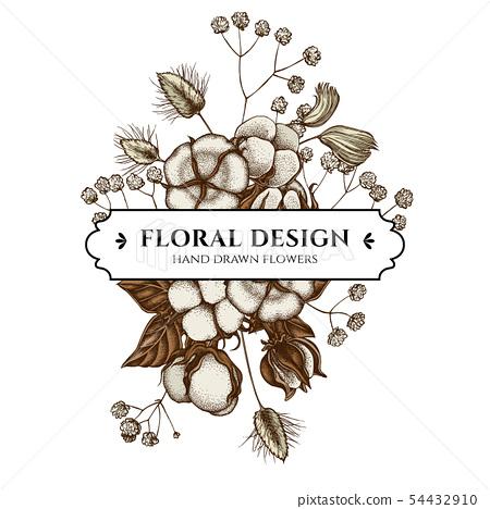 Floral bouquet design with colored lagurus, cotton, gypsophila 54432910