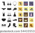 Clothes and accessories black,flat icons in set collection for design. Shoes and decoration vector 54433553