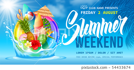 Summer Weekend Party Flyer Template 54433674