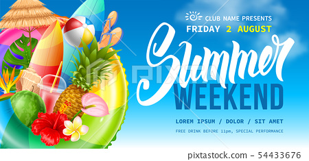 Summer Weekend Party Flyer Template 54433676