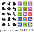 An unrealistic black,flat animal icons in set collection for design. Toy animals vector symbol stock 54433726