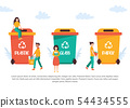 Tiny people recycling garbage. Vector illustration 54434555