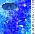 Blue umbrella on turquoise autumn leafs background 54434810