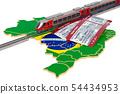 Rail travel in Brazil, concept. 3D rendering 54434953