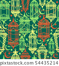Seamless pattern of Ramadan Kareem lanterns. Happy 54435214