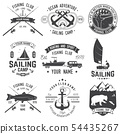 Set of sailing camp and fishing club badges. Vector. Concept for shirt, print, stamp or tee. Vintage 54435267