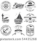 Set of sailing camp and fishing club badges. Vector. Concept for shirt, print, stamp or tee. Vintage 54435268
