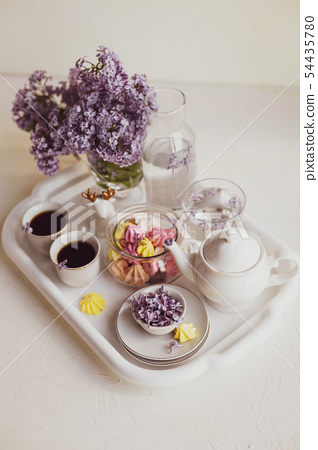 Purple spring lilac flowers  breakfast still life 54435780