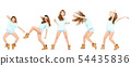 Collage of dancing female on white background 54435836