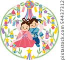 Orihime和Hikoboshi Tanabata瑪瑙裝飾背景B. 54437312