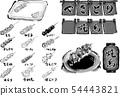 线条图黑色和白色黑色和白色烤鸡肉串设置烤鸡肉串矢量のれん亲善灯笼菜单 54443821