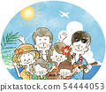 Three Generation Family Travel-Resort-Watercolor 54444053