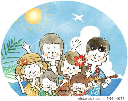 三代家庭旅遊 - 度假村 - 水彩畫 54444053