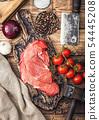 Fresh raw organic slice of braising steak fillet 54445208