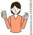 婦女智能手機OK簡單的例證 54448823