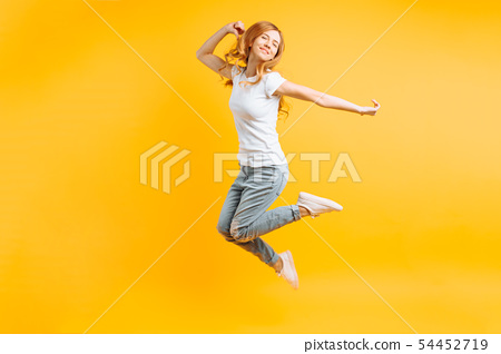 Portrait of a cheerful enthusiastic girl in a 54452719