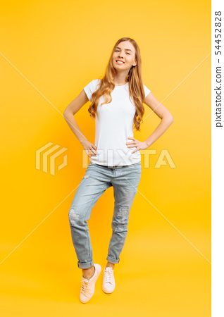 Full length portrait of a cheerful beautiful girl, 54452828