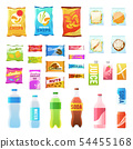 Product for vending. Tasty snacks sandwich biscuit candy chocolate drinks juice beverages pack 54455168