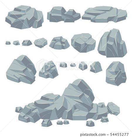 Rock stones. Natural stone rocks, massive boulders. Granite cobble cliff and stone heap for mountain 54455277