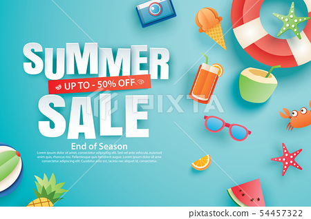 Summer sale with decoration origami on blue sky 54457322