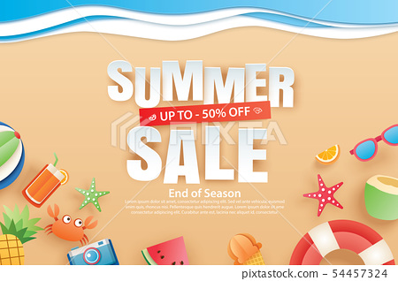 Summer sale with decoration origami on beach 54457324