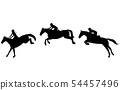 Horse rider jump in three steps, Jumping show. 54457496