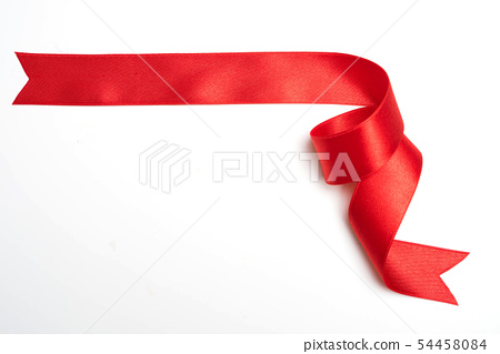 red ribbon banner on white 54458084