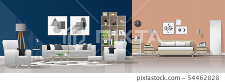Interior background with living room and bedroom 54462828