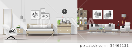 Interior background with bedroom and living room 54463131