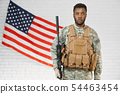American ranker confidently standing near American flag. 54463454