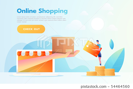 E-commerce or online shopping concept with hands reaching out of a computer screen holding a 54464560
