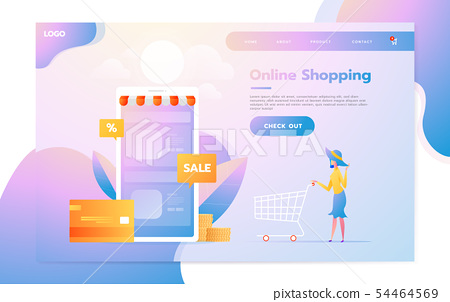 Landing page template of Online Shopping. Modern flat design concept of web page design for website 54464569