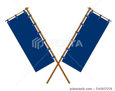 Illustration of Japanese-style banners arranged in a cross (navy blue) 54465559