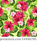 Hawaiian Hibiscus Fragrance Flower and Monstera Leaves Vector Seamless Pattern. 54466785
