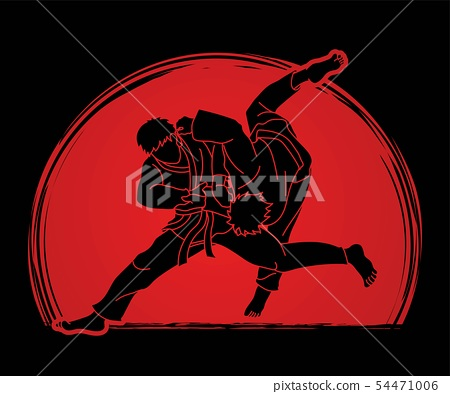 Judo sport action cartoon graphic vector. 54471006